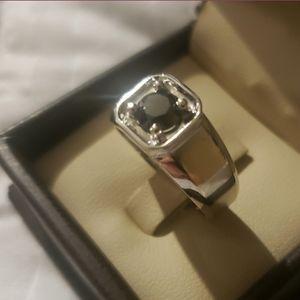 Mens 10K White Gold Black Diamond Ring
